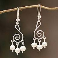 Cultured pearls chandelier earrings, 'Dreams' - Cultured pearls chandelier earrings