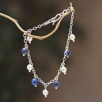 Lapis lazuli charm bracelet, 'Blue Moons' - Lapis Lazuli And 925 Sterling Silver Charm Bracelet