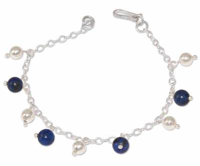 Lapis Lazuli And 925 Sterling Silver Charm Bracelet