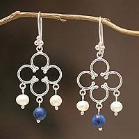 Cultured pearl and lapis lazuli chandelier earrings, 'Fortunate' - Cultured pearl and lapis lazuli chandelier earrings