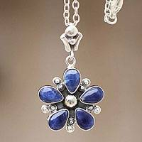 Sodalite pendant necklace, 'Peruvian Bluebell' - Silver and Sodalite Pendant Necklace