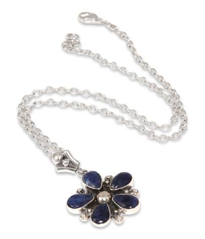 Silver and Sodalite Pendant Necklace