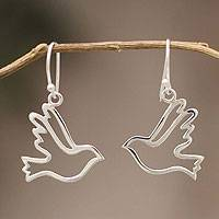 Sterling silver dangle earrings, Doves of Peace