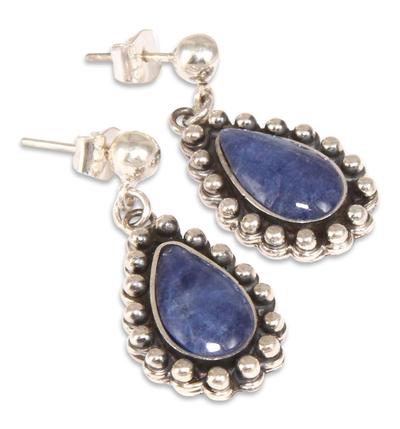 Unique Sterling Silver Dangle Sodalite Earrings