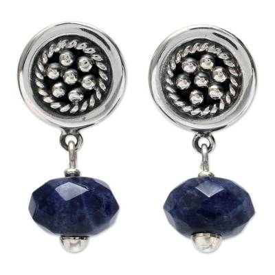Floral Sterling Silver and Blue Sodalite Earrings from Peru