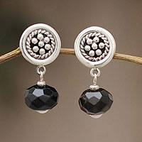 Obsidian dangle earrings, 'Obsidian Dewdrops' - Fair Trade Floral Sterling Silver Dangle Obsidian Earrings