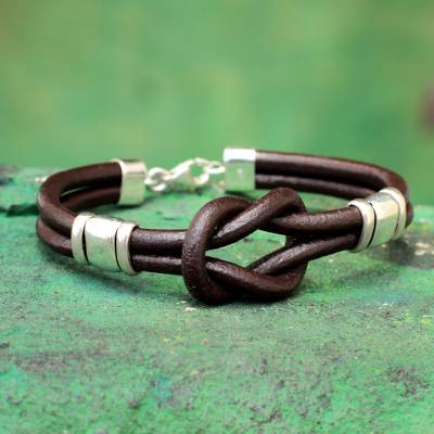 Leather wristband bracelet, 'Twin Brown Knots' - Hand Made Leather Wristband Bracelet
