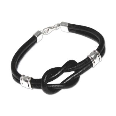 Leather Wristband Bracelet 925 Sterling Silver