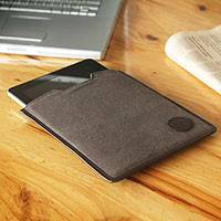 Leather accent tablet sleeve, 'Trujillo on the Go' - Leather accent tablet sleeve