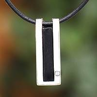 Leather pendant necklace, 'Quechua Minimalist' - Leather Pendant Necklace