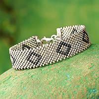 Sterling silver wristband bracelet, 'Wonder'
