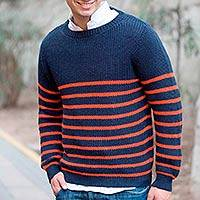 Men's alpaca blend sweater, 'Navy Cuzco Casual' - Men's alpaca blend sweater
