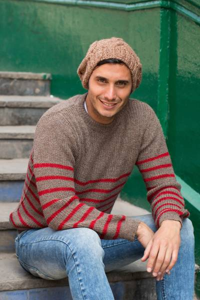 Mens alpaca blend sweater, Tan Cuzco Casual