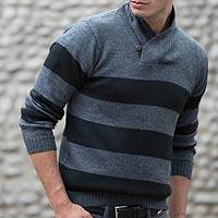 Men's alpaca blend sweater, 'Cortijo Man in Black' - Cortijo Men's Alpaca Wool Pullover Sweater