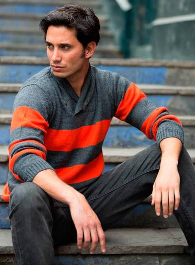 Men's alpaca blend sweater, 'Cortijo Man in Orange' - Men's Alpaca Blend Sweater