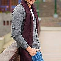 Men's alpaca blend cardigan, 'Classic in Grey'