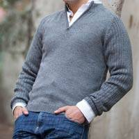 Men's fitted alpaca blend sweater, 'Gray Fog Secret'