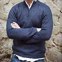 Men's fitted alpaca blend sweater, 'Ocean Secret'