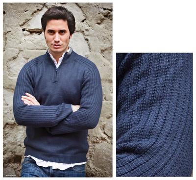 Men's fitted alpaca blend sweater, 'Ocean Secret' - Men's Peruvian Alpaca Wool Blend Pullover Sweater