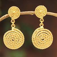 Gold vermeil dangle earrings, 'Spiral Medallions' - Fair Trade Vermeil Dangle Earrings