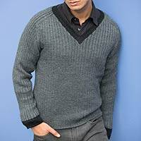 Men's alpaca blend sweater, 'Informal Gray' - Men's alpaca blend sweater