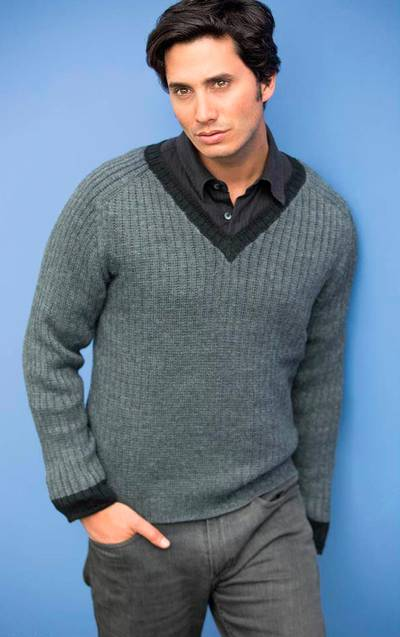 Mens alpaca blend sweater, Informal Gray