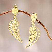 Gold vermeil filigree dangle earrings, 'Angel Wings' - Unique Vermeil Dangle Earrings