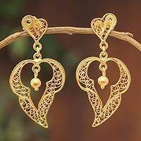Gold vermeil filigree dangle earrings, 'Singing Heart' - Gold vermeil filigree dangle earrings