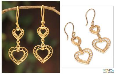 Gold vermeil filigree dangle earrings, 'Our Two Hearts' - Hand Made Peruvian Gold Vermeil Filigree Earrings