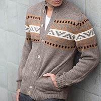 Men's alpaca blend sweater, 'Brown Inca Hills' - Men's Alpaca Blend Cardigan Sweater
