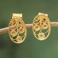 Gold vermeil filigree button earrings, 'Forest Shadow' - Gold vermeil filigree button earrings