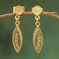Gold vermeil filigree dangle earrings, 'Leaf Promise' - Hand Made Vermeil Dangle Earrings from Peru