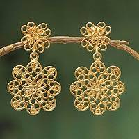 Gold vermeil filigree dangle earrings, 'Andean Blossom' - Artisan Crafted Gold Vermeil Filigree Dangle Earrings