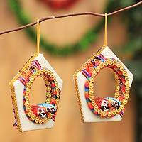 Wood and cotton ornaments, 'Christmas Parrots' (pair) - Wood and cotton ornaments (Pair)