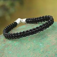 Leather wristband bracelet, 'Urban Black' - Leather Braided Bracelet