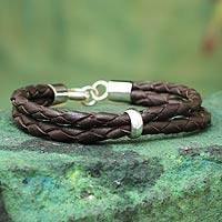 Men's leather bracelet, 'Strategy' - Leather Braided Men's Bracelet