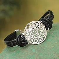 Sterling silver and leather cord bracelet, 'Moonbeams' - Handcrafted Modern 925 Silver and Black Leather Bracelet