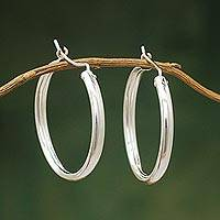 Sterling silver hoop earrings, 'Minimalist Magic'