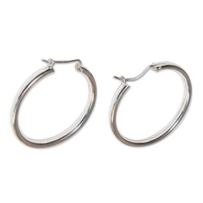 Silver Hoop Earrings Sterling 925 Simple Classic