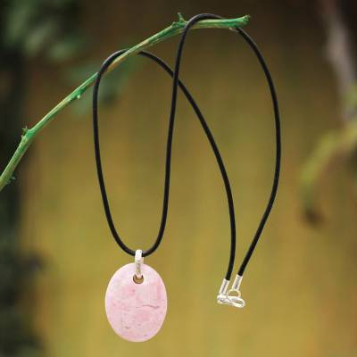 Rhodonite pendant necklace, 'Pink Lady' - Leather Cord Rhodonite Necklace