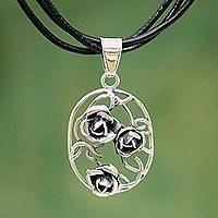 Sterling silver flower necklace, 'Three Roses' - Floral Sterling Silver Cord Necklace from Peru