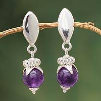 Amethyst dangle earrings, 'Sweet Lilac' - Amethyst dangle earrings