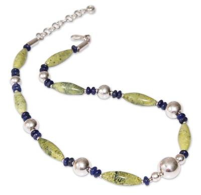 Sodalite and serpentine beaded necklace