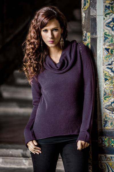 Cotton and alpaca sweater, 'Purple Warmth' - Cotton Blend Fashion Pullover Sweater