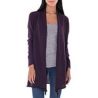 Cotton and alpaca cardigan, 'Andean Purple' - Peruvian Cotton and Alpaca Blend Open Cardigan