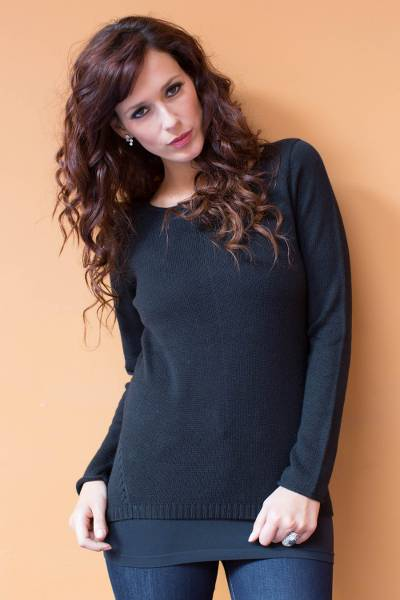 Cotton and alpaca sweater, Puno Black