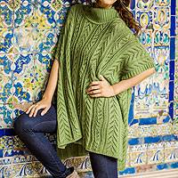 Alpaca blend poncho, 'Jade Dreams' - Alpaca Wool Poncho Sweater from Peru