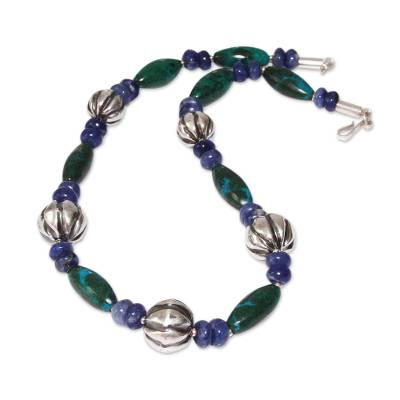 Sodalite Chrysocolla Beaded Necklace 925 Sterling Silver Art