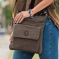 Cotton messenger bag, 'Nazca Traveler' - Brown Cotton Handbag with Leather Details