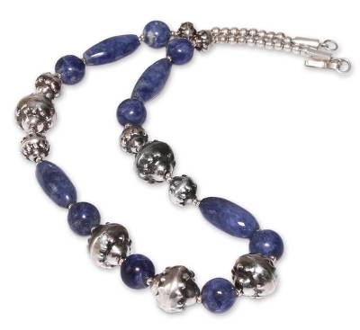 Handmade Sterling Silver Beaded Sodalite Necklace